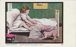 Girl & dog play tug-a-war, Good Morning , 1905