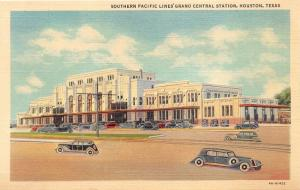 Houston Texas~Southern Pacific Lines Grand Central Station~1940s Postcard