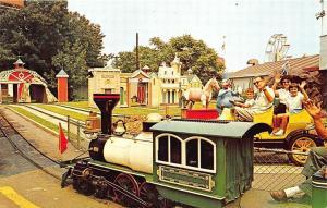 Palisades Park NJ Amusement Park 1865 Railroad and Antique Car Ride Postcard
