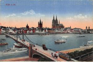 Koln am Rhein Bridge River Boats Cathedral Panorama Postcard