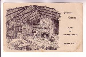 Colonial Terrace, Sketch Fireplace, Place of Enchantment, Carmel California