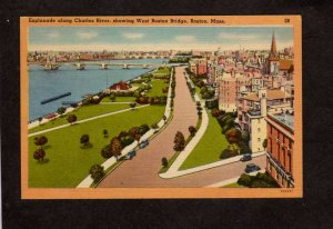 MA Esplanade Charles River West Boston Bridge Mass Massachusets Postcard