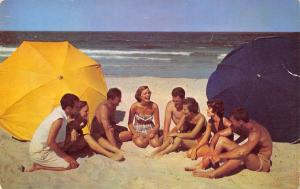 Daytona Beach Greetings~Beathing Beauties & Beach Bums~Couples Sit on Sand 1950s