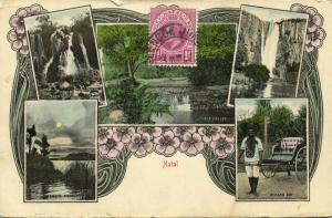 south africa, NATAL Multiview, Chase Valley, Albert Falls, Rickshaw (1910s)