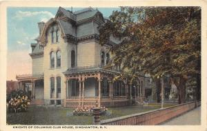 Binghamton New York~Knights of Columbus Club House~Flower Beds~Fence~1920s Pc