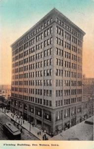 Des Moines Iowa~Fleming Building~Trolley~1910 Postcard