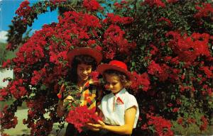 Lower Rio Grande Valley Texas~Little Girls in Red Hats with Bougainvillea~1955