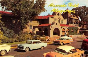 Albuquerque New Mexico 1950s Postcard Alvarado Hotel First Street Pink Cars
