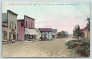 West Bend WI~Random Lake Village~Dry Goods Store~Homes~Wagon~Suhling Co~1908 PC