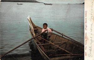 G33/ Puget Sound Washington Postcard Native American Indian Boy Whaler 1908