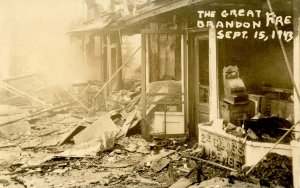 VT - Brandon. September 15, 1943 Fire, Center Street.   RPPC