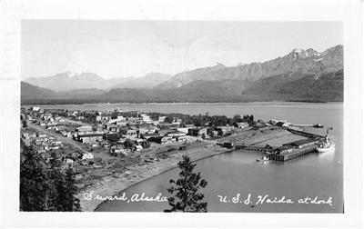 RPPC Seward, Alaska U.S.S. Haida at Dock 1951 Vintage Postcard