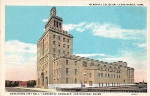 B44/ Cedar Rapids Iowa Ia Postcard c1920 Memorial Coliseum Building