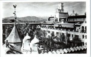 RPPC  RIVERSIDE, CA  California   View  of  MISSION  INN  1955  Postcard