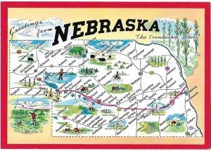 Nebraska Map Card The Cornhusker State 4 by 6 Size