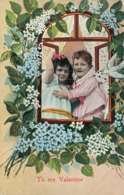 To my Valentine Vintage postcards two kids in love 01.67