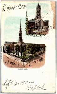 Multi View St Xavier, St Peter Cathedral Cincinnati Ohio c1906 Postcard N10