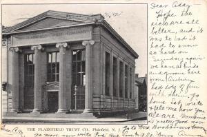 Plainfield New Jersey~Plainfield Trust Co Bank~1906 B&W Postcard