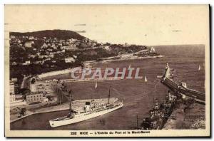 Old Postcard Nice S Entree du Port and Mont Boron Boat