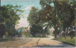 DETROIT MI - WESTERN GRAND BOULEVARD with trees 1907 / DIFFERENT TODAY !