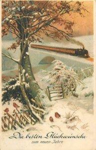 Postcard Greetings art artistic winter scene railway train bridge birds snow