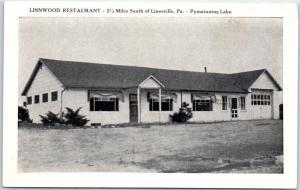 Linesville, Pennsylvania Postcard LINNWOOD Restaurant Pymatuning Lake Roadside