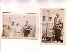 2 Photographs, 1934 on Board TSS Peten, Mrs Bishop & The Barrets,