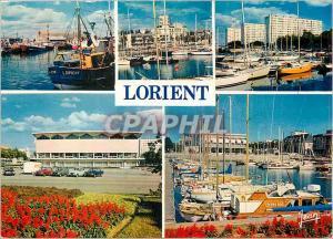 Modern Postcard Lorient Morbihan The fishing port The marina Palace of Congress
