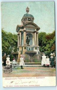 Amsterdam Monument Sarphati i.h. Sarphatipark Statue Vintage Postcard A76