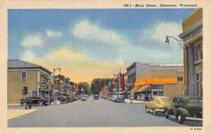 Shawano Wisconsin Main Street Scene Linen Antique Postcard K20944