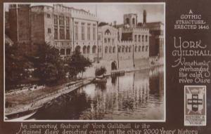 Yorkshire Guildhall Stained Glass Windows River Ouse History Real Photo Postcard