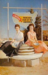 Liberal, Kansas Pancake Hub of the Universe Roadside c1950s Vintage Postcard