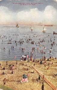Milwaukee Bay WI~McKinley Park Crowded Bathing Beach~Sailboats~1910 VO Hammon