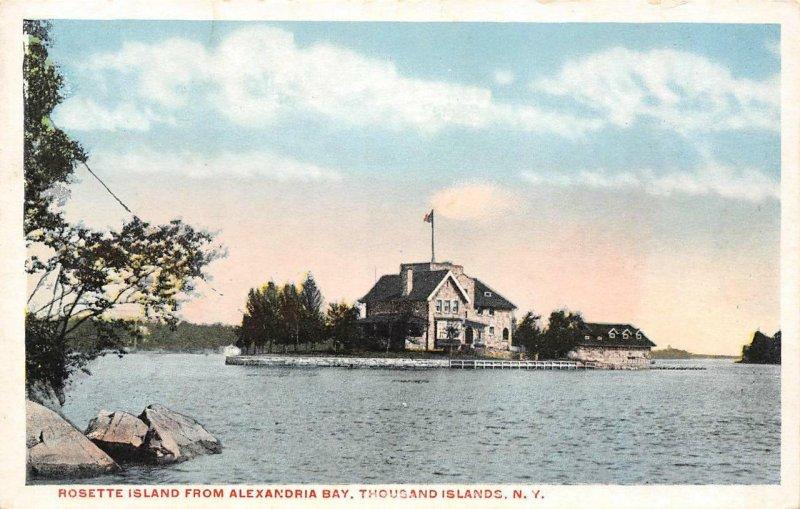 Rosette Island From Alexandria Bay, Thousand Islands, New York ca 1920s Postcard