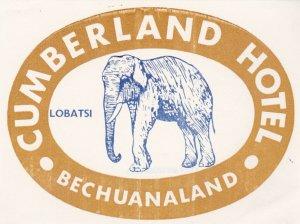 Bechuanaland Lobatsi Cumberland Hotel Light Brown Elephant Luggage Label lbl0453