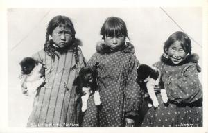 RPPC  ALASKA, AK   Eskimo Children & Puppies  SIX LITTLE ARCTIC NATIVES Postcard
