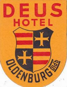 GERMANY OLDENBURG DEUS HOTEL VINTAGE LUGGAGE LABEL