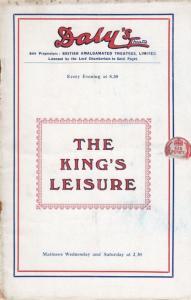 The Kings Leisure Nora Swinburne Drama Dalys Rare Theatre Programme
