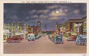 South Carolina Main Street Looking South At Night