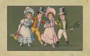 COUPLES; Men, top hats, women, bonnets, basket of berries, Shamrock, PU-1908