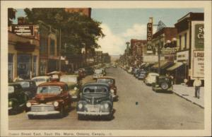 Sault Ste. Marie ON Queen St. Cars Postcard rpx