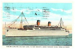 Ss Lurline Schiff Luxus auf See Postkarte Verschickt 1933 Aus San Pedro Ca