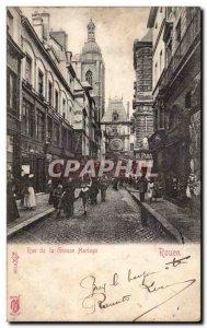 Old Postcard Rouen the big clock Street