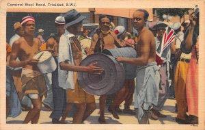 Carnival Steel Band, Trinidad, British West Indies, Early Linen Postcard, Unused