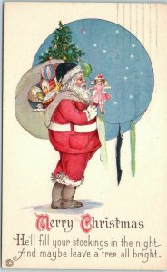 Vintage SANTA CLAUS Christmas Postcard Red Suit, Hanging Stockings STECHER 745F