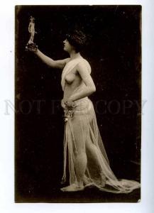 187105 NUDE Woman w/ Statue DANCER Vintage Photo type PC