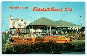 Postcard DE Rehoboth Beach Jack Dentino Amusement Center Mini Train Ride E14