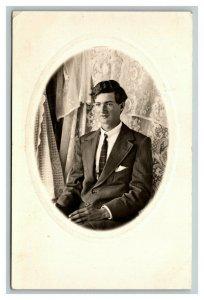Vintage 1910's RPPC Living Room Portrait Well Dressed Man Suit & Tie