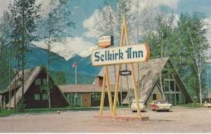Exterior View, Welcome Sign and Classic Cars At The Selkirk Inn, Rogers Pass,...
