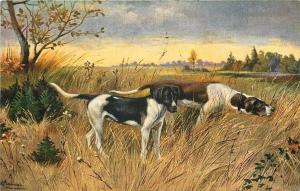 Frankfurt DE Artist Alfred Schonian~Hunting Dogs Search For Fallen Bird~Postcard
